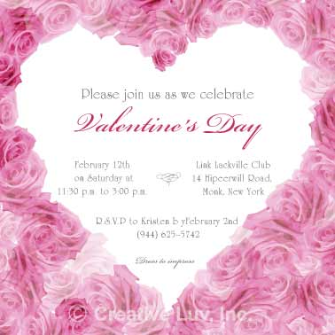 Heart of  Roses Valentine Flat Invitation